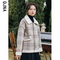 woolen coat Winter 2020 S M L khaki other 95% and above have cash less than that is registered in the accounts Long sleeves commute Single breasted routine Polo collar lattice High waist type Korean version QJNV9055 Qingjiaona 18-24 years old Button Other 100% Pure e-commerce (online only)