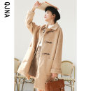 woolen coat Winter 2020 S M L Kage grey apricot other 95% and above Medium length Long sleeves commute Single breasted routine Polo collar lattice Straight cylinder Korean version QJN790 Qingjiaona 18-24 years old Button Solid color Other 100% Pure e-commerce (online only)