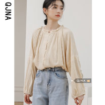 shirt Yellow apricot S M L Spring 2021 other 96% and above Long sleeves commute Regular Crew neck Single row multi button bishop sleeve Solid color 18-24 years old Straight cylinder Qingjiaona Korean version Other 100% Pure e-commerce (online only)
