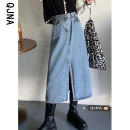 skirt Spring 2021 S M L blue Mid length dress commute High waist Denim skirt Solid color Type A 18-24 years old QJN5099 More than 95% Qingjiaona other Korean version Other 100% Pure e-commerce (online only)