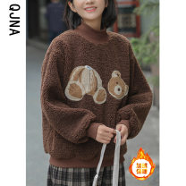 Sweater / sweater Winter 2020 coffee S M L Long sleeves routine Socket singleton  thickening stand collar easy commute raglan sleeve Cartoon animation 18-24 years old 96% and above Qingjiaona Korean version other QJN1918 Cotton liner Other 100% Pure e-commerce (online only)