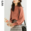 shirt Blue Orange S M L Winter 2020 other 96% and above Long sleeves Original design Regular stand collar Single row multi button bishop sleeve Solid color 18-24 years old Straight cylinder Qingjiaona QJN6695 Other 100% Pure e-commerce (online only)