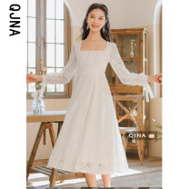 Dress Spring 2021 White, purplish red S M L longuette singleton  Long sleeves commute square neck High waist Solid color Socket A-line skirt other 18-24 years old Qingjiaona Retro bow QJN2503 More than 95% other other Other 100% Pure e-commerce (online only)