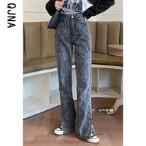 Jeans Spring 2021 Picture color S M L trousers High waist Knickerbockers routine 18-24 years old washing Cotton denim Dark color QJN9190 Qingjiaona 96% and above Other 100% Pure e-commerce (online only)