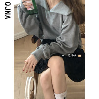 Sweater / sweater Spring 2021 Grey Khaki black S M L Long sleeves routine Socket singleton  routine square neck easy commute 18-24 years old 96% and above Qingjiaona Korean version other NQJN9482 Cotton liner Other 100% Pure e-commerce (online only)