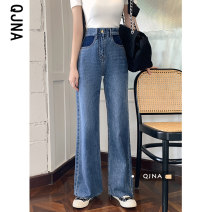 Jeans Spring 2021 blue S M L XL 2XL trousers High waist Wide legged trousers routine 18-24 years old Make old Dark color QJN3302 Qingjiaona Other 100% Pure e-commerce (online only)