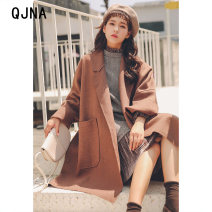 woolen coat Winter 2020 S M L coffee other 95% and above Medium length Long sleeves commute other Bat sleeve Double collar Solid color Straight cylinder Korean version Qingjiaona 18-24 years old pocket Solid color Other 100% Pure e-commerce (online only)