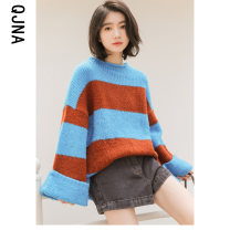 sweater Winter 2020 S M L blue Long sleeves Socket singleton  Regular other 95% and above stand collar Regular commute pagoda sleeve stripe Straight cylinder Regular wool Keep warm and warm 18-24 years old Qingjiaona QJN6225 Other 100% Pure e-commerce (online only)