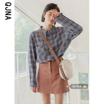 shirt lattice S M L Spring 2021 other 96% and above Long sleeves commute Medium length Polo collar Single row multi button shirt sleeve lattice 18-24 years old Self cultivation Qingjiaona Korean version Other 100% Pure e-commerce (online only)