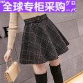 skirt Autumn 2020 S,M,L,XL,2XL Black grid, small gray grid, big gray grid Short skirt commute High waist A-line skirt lattice Type A HFN#8694861 More than 95% Wool other Fold, zip, splice Korean version