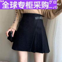skirt Autumn 2020 M,L,XL,2XL Black tweed Short skirt commute High waist Pleated skirt Solid color Type A 25-29 years old Ll6316 tweed skirt 91% (inclusive) - 95% (inclusive) Wool cotton Asymmetry Korean version