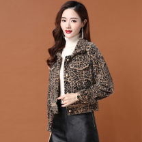short coat Spring 2021 S M L XL Leopard Print Long sleeves have cash less than that is registered in the accounts routine singleton  High waist type commute routine Single breasted Leopard Print Yipin silver fox 96% and above Button stitching print pleat Leopard print jacket other Other 100%