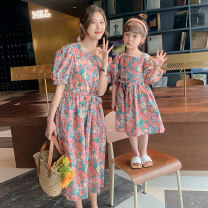 Parent child fashion Peacock blue, pink Women's dress female Tagkita / she and others 90cm, 100cm, 110cm, 120cm, 130cm, 140cm, 150cm, mom s, mom m, mom L, mom XS summer Korean version Thin money Broken flowers skirt Pure cotton (100% cotton content) L,M,S,XS Class B Chinese Mainland