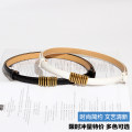 Belt / belt / chain Pu (artificial leather) female belt Versatile Single loop Youth, middle age and old age a hook Geometric pattern Patent leather 1.4cm alloy alone Spring 2021