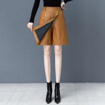 Casual pants Black skirt [elastic waist], Khaki Skirt [elastic waist], black skirt [small zipper], caramel skirt [small zipper], black skirt [elastic waist] S,M,L,XL,2XL,3XL,4XL,5XL,6XL Spring 2021 Pant High waist commute routine PU leather Korean version pocket