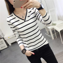 T-shirt White black M L XL XXL Autumn 2020 Long sleeves V-neck Self cultivation Regular routine commute polyester fiber 86% (inclusive) -95% (inclusive) 18-24 years old classic Thin horizontal stripe Rockies Polyester 95% polyurethane elastic fiber (spandex) 5%