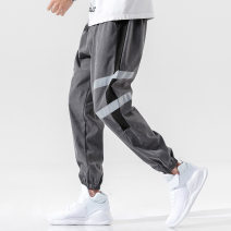 Casual pants Others other Gray, black and white, black and gray 4XL,2XL,3XL,XL,M,L Ninth pants Other leisure Self cultivation Micro bomb B106-Z226 middle-waisted Little feet Pocket decoration No iron treatment stripe