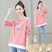 Sweater / sweater Spring 2021 Purple, black, white, pink M,L,XL,2XL Long sleeves routine Socket singleton  routine Crew neck easy commute routine character 96% and above Korean version cotton printing cotton Cotton liner