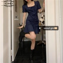 Wedding dress Spring 2021 Navy black white Long Sleeve Dress Black NAVY LONG SLEEVE DRESS S M L XL 2XL Sweet ADFI6_ one trillion and six hundred and fourteen billion six hundred and sixty-nine million two hundred and sixty-six thousand one hundred and fifty-six 18-25 years old Sleeved shawl Yijian