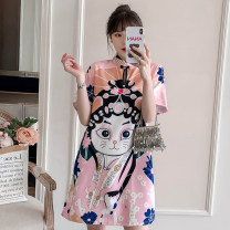 cheongsam Summer 2021 M L XL 2XL 3XL 4XL Pink cheongsam dress Short sleeve Short cheongsam Retro High slit daily Round lapel Big flower 25-35 years old Piping XHA-4F033-5016 Hin coast cotton Cotton 96% other 4% Pure e-commerce (online only) 96% and above