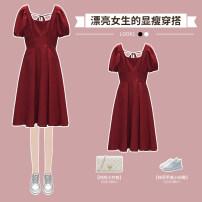 Dress / evening wear wedding L XL 2XL 3XL 4XL Black dress red dress longuette High waist Summer 2021 A-line skirt Deep V style 18-25 years old XHA-4F092-2271 Solid color Hin coast puff sleeve Other 100% Pure e-commerce (online only)