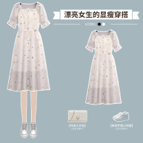 Dress Summer 2021 White dress M L XL 2XL 3XL 4XL longuette singleton  Short sleeve commute square neck High waist Dot Socket A-line skirt routine 18-24 years old Hin coast lady printing XHA-4F106-18058 More than 95% Chiffon other Other 100% Pure e-commerce (online only)