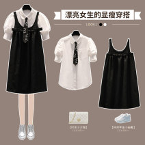 Women's large Summer 2021 Bubble sleeve shirt black strap skirt black two piece suit M large L Large XL Large 2XL large 3XL large 4XL Other oversize styles Two piece set street moderate Socket Short sleeve Shape solid color Crew neck routine cotton Three dimensional cutting other XHA-4F053-2330