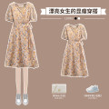 Dress Summer 2021 Yellow Floral Dress L XL 2XL 3XL 4XL longuette singleton  Short sleeve commute V-neck High waist Broken flowers Socket A-line skirt routine 18-24 years old Hin coast Korean version printing More than 95% Chiffon other Other 100% Pure e-commerce (online only)
