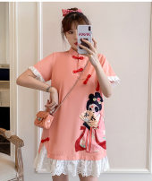 cheongsam Summer 2021 M L XL 2XL 3XL 4XL Pink cheongsam dress Short sleeve Short cheongsam Retro No slits daily Oblique lapel Solid color 18-25 years old Piping Hin coast other Other 100% Pure e-commerce (online only) 31% (inclusive) - 50% (inclusive)
