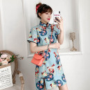 cheongsam Summer 2021 M L XL 2XL 3XL 4XL Short sleeve Short cheongsam grace No slits daily Oblique lapel Animal design 18-25 years old Piping Hin coast cotton Cotton 96% other 4% Pure e-commerce (online only) 96% and above