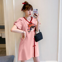 cheongsam Summer 2021 M L XL 2XL 3XL 4XL Short sleeve Short cheongsam Retro No slits daily Ruyi lapel Solid color 18-25 years old Hin coast other Other 100% Pure e-commerce (online only)