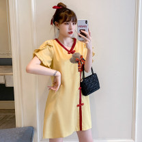 cheongsam Summer 2021 M L XL 2XL 3XL 4XL Red cheongsam dress yellow cheongsam dress Short sleeve Short cheongsam Retro No slits daily Ruyi lapel Solid color 18-25 years old Piping XHA - 2F023 - eight hundred and thirty-eight Hin coast other Other 100% Pure e-commerce (online only)
