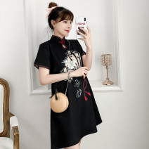 cheongsam Summer 2021 M L XL 2XL 3XL 4XL Black Guochao cheongsam dress Short sleeve Short cheongsam Retro No slits daily Ruyi lapel Animal design 18-25 years old Piping XHA-4F033-816 Hin coast cotton Cotton 96% other 4% Pure e-commerce (online only) 96% and above