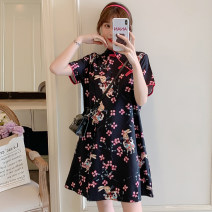 cheongsam Summer 2021 M L XL 2XL 3XL 4XL Black Floral cheongsam Short sleeve Short cheongsam Retro No slits daily Ruyi lapel Decor 18-25 years old Piping XHA-3F072-8039 Hin coast other Other 100% Pure e-commerce (online only)