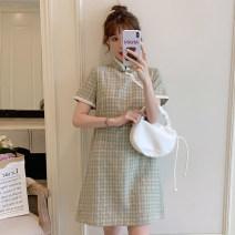 cheongsam Summer 2021 M L XL 2XL 3XL 4XL Green cheongsam dress Short sleeve Short cheongsam Retro No slits daily Oblique lapel lattice 18-25 years old Piping XHA-4F033-1869 Hin coast other Other 100% Pure e-commerce (online only) 81% (inclusive) - 90% (inclusive)