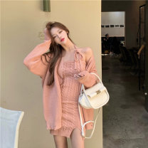 Dress Winter 2020 S M L Middle-skirt Two piece set Long sleeves commute One word collar High waist Solid color Single breasted A-line skirt routine Others 18-24 years old Korean version 31% (inclusive) - 50% (inclusive) other polyester fiber Polyester 45% other 55%