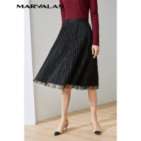 skirt Autumn 2020 XS S M L black Mid length dress Versatile Natural waist Pleated skirt Solid color Type A 25-29 years old More than 95% Marvalas / Mandel Poetry polyester fiber Polyethylene terephthalate (polyester) 100% Pure e-commerce (online only)