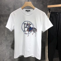 T-shirt Youth fashion White black routine 4XL 5XL M L XL 2XL 3XL Zoshen Ruidi Short sleeve Crew neck Self cultivation Other leisure summer TX031215 Cotton 95% polyurethane elastic fiber (spandex) 5% youth routine tide Spring 2021 character Hot drilling cotton No iron treatment