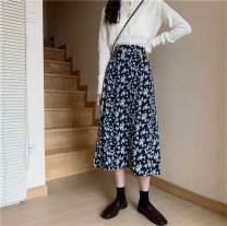 skirt Spring 2021 M,L,XL,3XL,4XL,XXL Graph color longuette commute High waist A-line skirt Broken flowers Type A 30% and below Chiffon polyester fiber printing