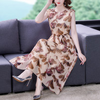 Dress Summer 2021 Decor S M L XL 2XL Mid length dress singleton  Sleeveless commute Crew neck middle-waisted Big flower Socket A-line skirt routine 35-39 years old Type A Mu Yixin lady printing XBH8252 More than 95% other Other 100% Pure e-commerce (online only)