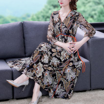 Dress Summer 2021 Decor S M L XL 2XL 3XL Mid length dress singleton  elbow sleeve commute V-neck Decor Socket A-line skirt routine Others 35-39 years old Type A Mu Yixin Korean version NRJ9752 More than 95% Crepe de Chine other Other 100%