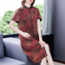 Dress Summer 2021 gules L XL 2XL 3XL 4XL 5XL Mid length dress singleton  Short sleeve stand collar Loose waist Decor 40-49 years old Mu Yixin printing NEJ5336 More than 95% other Other 100% Pure e-commerce (online only)