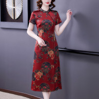Dress Summer 2021 gules M L XL 2XL 3XL 4XL Mid length dress singleton  Short sleeve commute stand collar High waist Decor zipper A-line skirt routine Others 40-49 years old Type A Mu Yixin Retro printing NEJ1809 More than 95% other Other 100% Pure e-commerce (online only)
