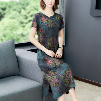 Dress Summer 2021 Decor L XL 2XL 3XL 4XL 5XL Mid length dress singleton  Short sleeve commute Crew neck middle-waisted Decor Single breasted A-line skirt routine Others 40-49 years old Type A Mu Yixin Retro printing More than 95% other Other 100% Pure e-commerce (online only)
