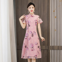 cheongsam Summer 2021 XXL XXXL M L XL 4XL Yellow pink Short sleeve Short cheongsam Retro Low slit daily Oblique lapel Decor Over 35 years old Piping Mu Yixin other Other 100% Pure e-commerce (online only)