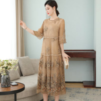 Dress Summer 2021 Apricot M L XL 2XL 3XL Mid length dress Fake two pieces elbow sleeve commute Crew neck Socket A-line skirt routine Others 35-39 years old Type A Mu Yixin lady NEJ7007 More than 95% other other Other 100% Pure e-commerce (online only)