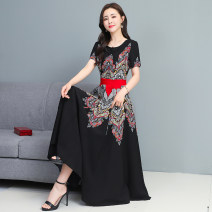 Dress Summer 2021 Apricot Navy Black M L XL 2XL 3XL Mid length dress singleton  Short sleeve commute Crew neck middle-waisted Decor Big swing routine Others 35-39 years old Type A Mu Yixin lady printing NEJ7135 More than 95% other Other 100% Pure e-commerce (online only)