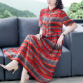 Dress Summer 2021 Decor L XL 2XL 3XL 4XL 5XL Mid length dress singleton  Short sleeve commute stand collar middle-waisted Decor Socket A-line skirt routine 40-49 years old Type A Mu Yixin lady Button XBH6266# More than 95% other Other 100% Pure e-commerce (online only)
