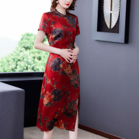 Dress Summer 2021 safflower 2XL 3XL 4XL L XL Mid length dress singleton  Short sleeve commute Crew neck Single breasted routine 35-39 years old Mu Yixin ethnic style 8826 real shot More than 95% other other Other 100% Pure e-commerce (online only)