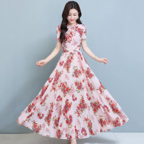 Dress Summer 2021 Mid length dress singleton  Short sleeve commute Crew neck middle-waisted Decor Condom A-line skirt routine Others 30-34 years old Type A Mu Yixin lady Frenulum NRJ2883 More than 95% Chiffon other Other 100% Pure e-commerce (online sales only) M L XL 2XL 3XL 4XL Yellow pink